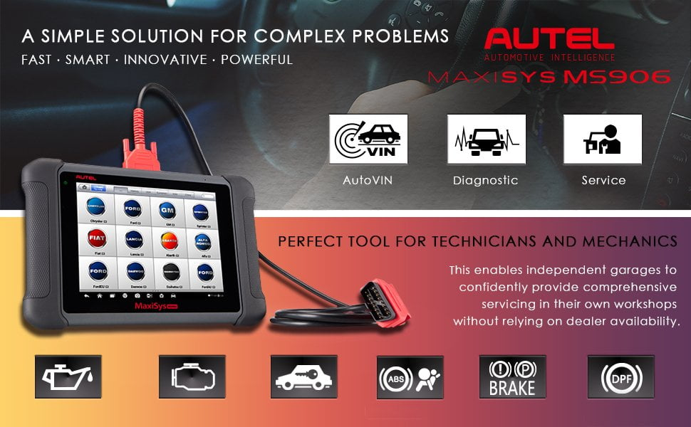 Autel Maxisys MS906 offers Full-system diagnosis and full-OBDII modes;