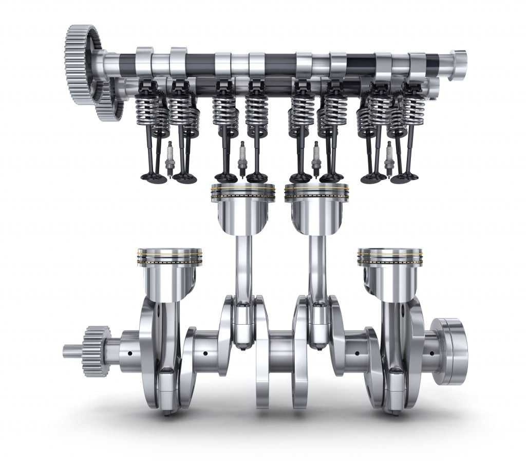 The camshafts and the crankshaft are the cause of the metal shavings in the oil if the shavings are iron
