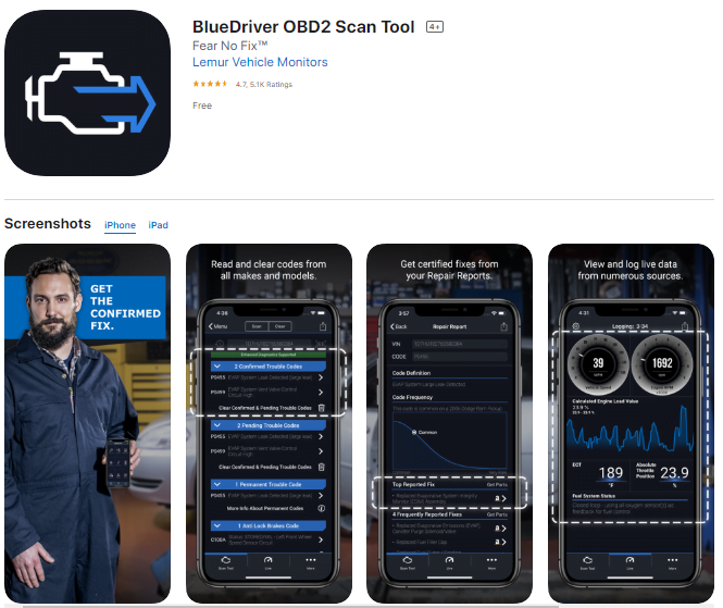 Bluedriver is also one of the best OBD2 apps for iPhone, iPad, and Android for many users
