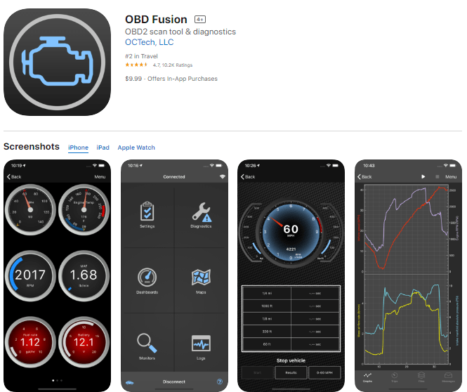 OBD Fusion is the best OBD2 scanner app for Android devices or iPhone, iPad