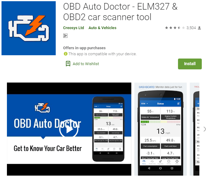 OBD Auto Doctor is considered as one of the best OBD apps for iPhones and Androids