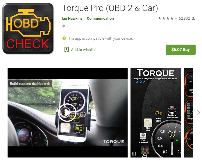 The Torque Pro is the perfect OBD2 application for Android