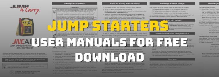 Here's where you can get free download of the user manuals for jump starters