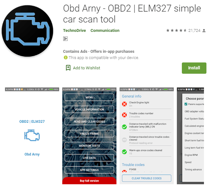 OBD Arny is the most straightforward OBD2 app