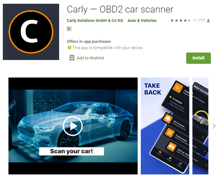 Carly OBD2 app is an excellent choice for advanced home mechanics.