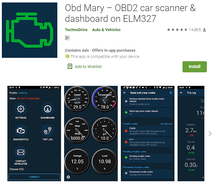OBD Mary OBD2 app is an ideal choice for everyday drivers who want to get the best performance from their vehicles.