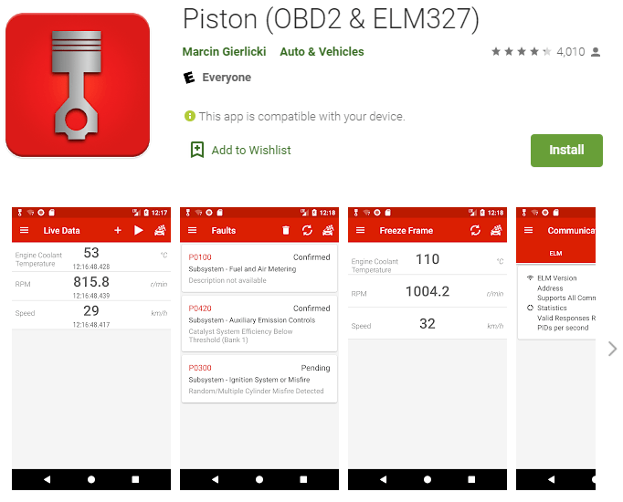 Piston OBD2 app is designed to be simple and easy to navigate