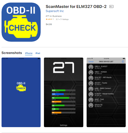 ScanMaster ELM327 is also one of the best OBD2 apps for iPhone, iPad, and Android for many users