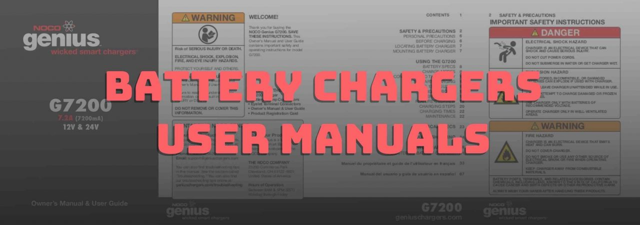 Download battery chargers user manuals for free below