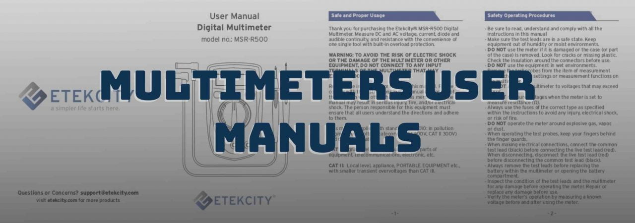 The multimeter user manuals below are available for download free of charge