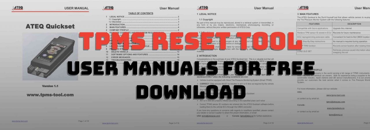 In this post, we have included the free download for TPMS reset tool user manuals