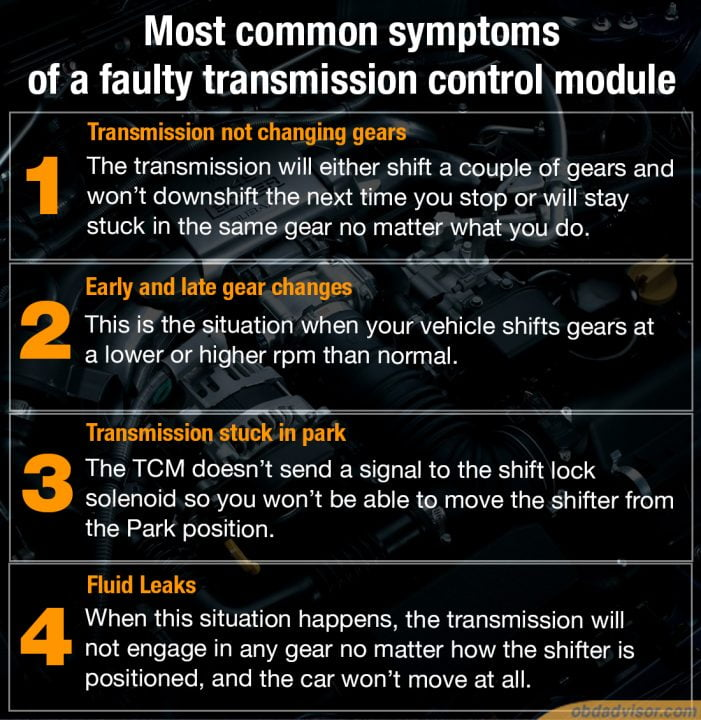 Some common symptoms that warn you about a faulty transmission control module