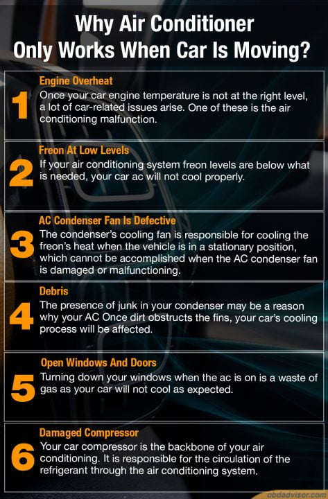Six main reasons why your air conditioner only works when car is moving
